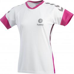 maillot hummel femme blanc rose gris